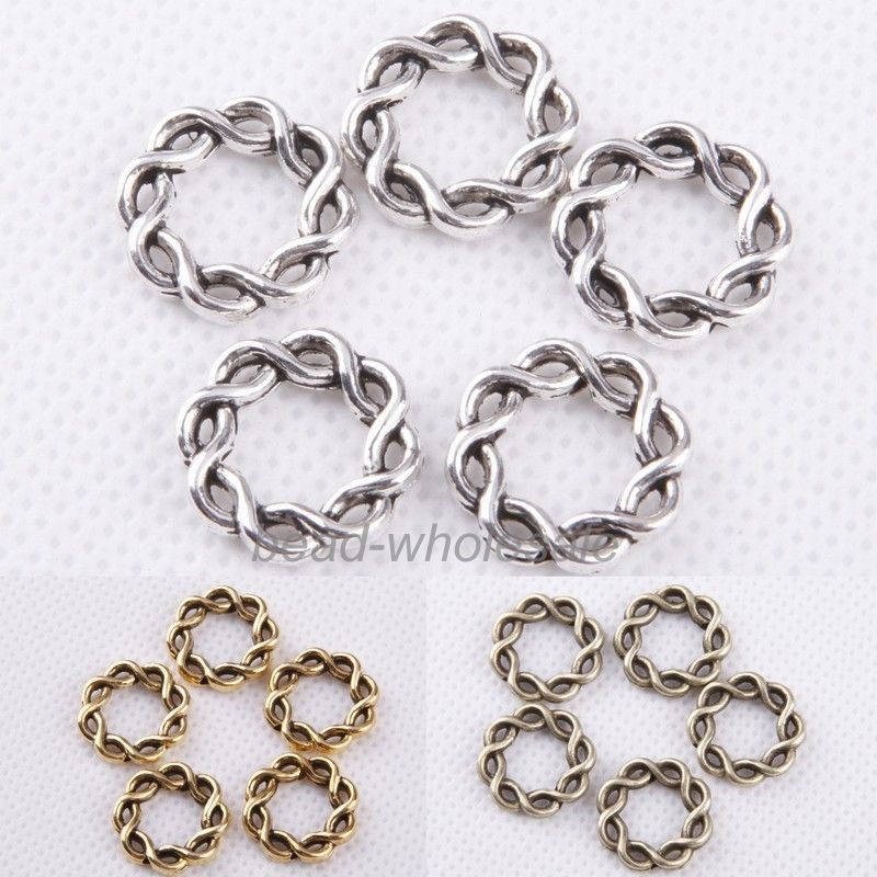 30 pcs Vintage Style Bronze Silver Golden Alloy Circle Ring Charm Round Shaped Pendant Charms Jewelry