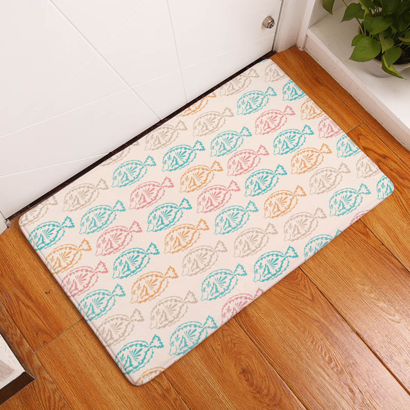Coral Printing Flannel Carpet Hippocampus Pattern Mat For Living Room  40x60cm Door mat Rectangle Tapete - us898 811d6f43a6f
