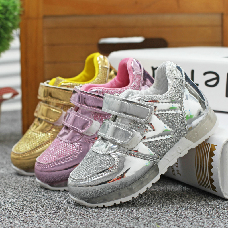 2015 Autumn children leather shoes sport shoes kids sneakers bling leather velcro sneakers for boys running
