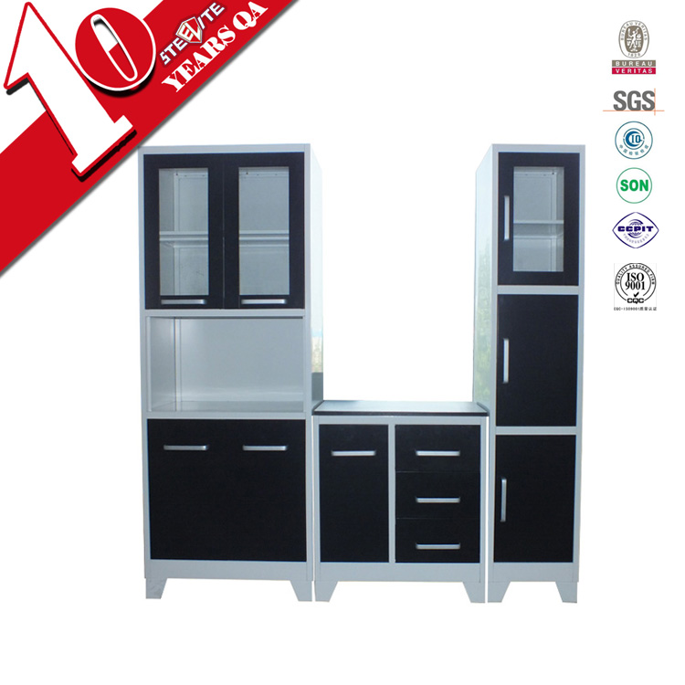 Stainless Steel Kitchen Cabinets Cost: High Gloss Factory Price Stainless Steel Kitchen Pantry