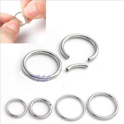 2PC 316L Steel Earring Nose Lip Nipple Tragus CBR Cpative Hoop Ring Piercing fake nose hoop