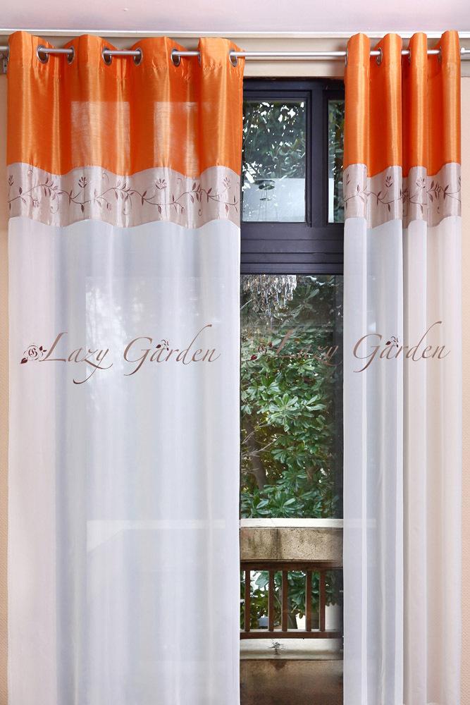 livraison gratuite oeillet broderie voile fen tre rideaux pour salon style europ en orange et. Black Bedroom Furniture Sets. Home Design Ideas