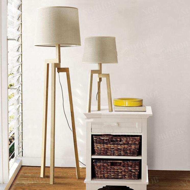 nordic ikea fabric floor lamp modern minimalist living room bedroom timber wood tripod floor. Black Bedroom Furniture Sets. Home Design Ideas
