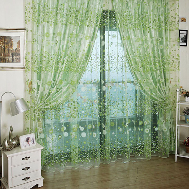 2016 Hot Sale Voile Curtain Chic Room <font><b>Rustic</b></font> Garden Flower Sheer Curtain <font><b>Home</b></font> <font><b>Decoration</b></font>
