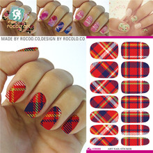 K5603 Water Transfer Nail Art Sticker Minx Manicure Decoration Styling Tools Nail Wraps Decals Plaid Design
