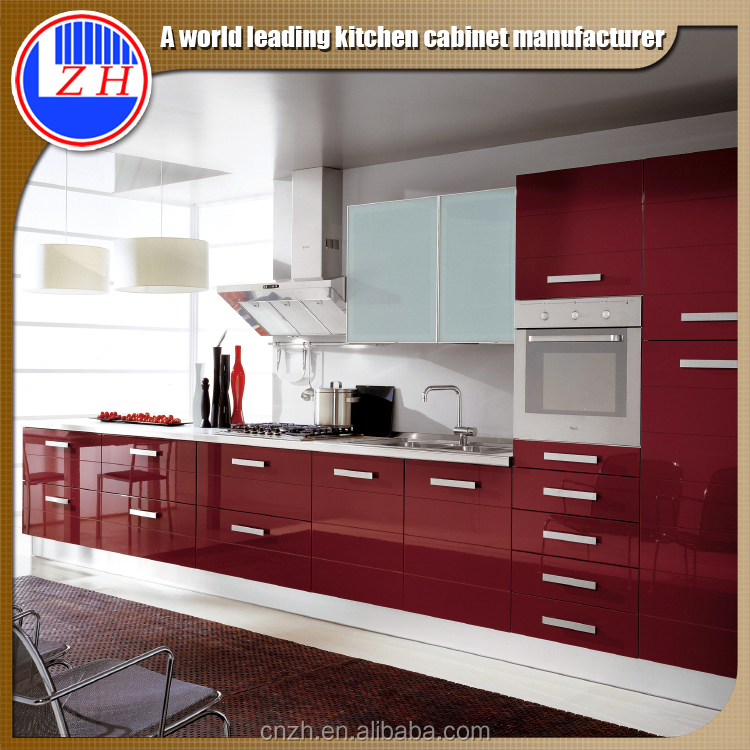 Mfi Kitchen Cabinets: High Gloss Red Kitchen Cabinet With Acrylic Cabinet Door