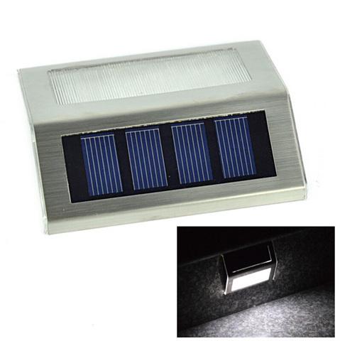 2pcs/lot Stainless Steel Wall Light Stair LED Solar Lamp