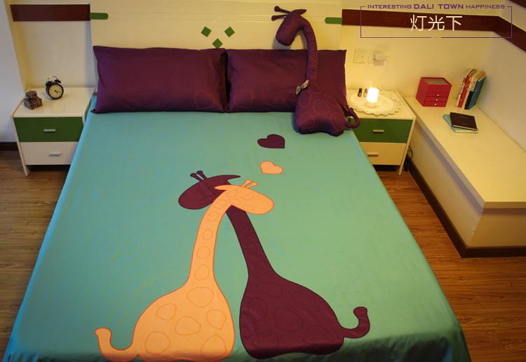 Purple Blue Giraffe Print Bedding Set Bedroom Bed Sheets