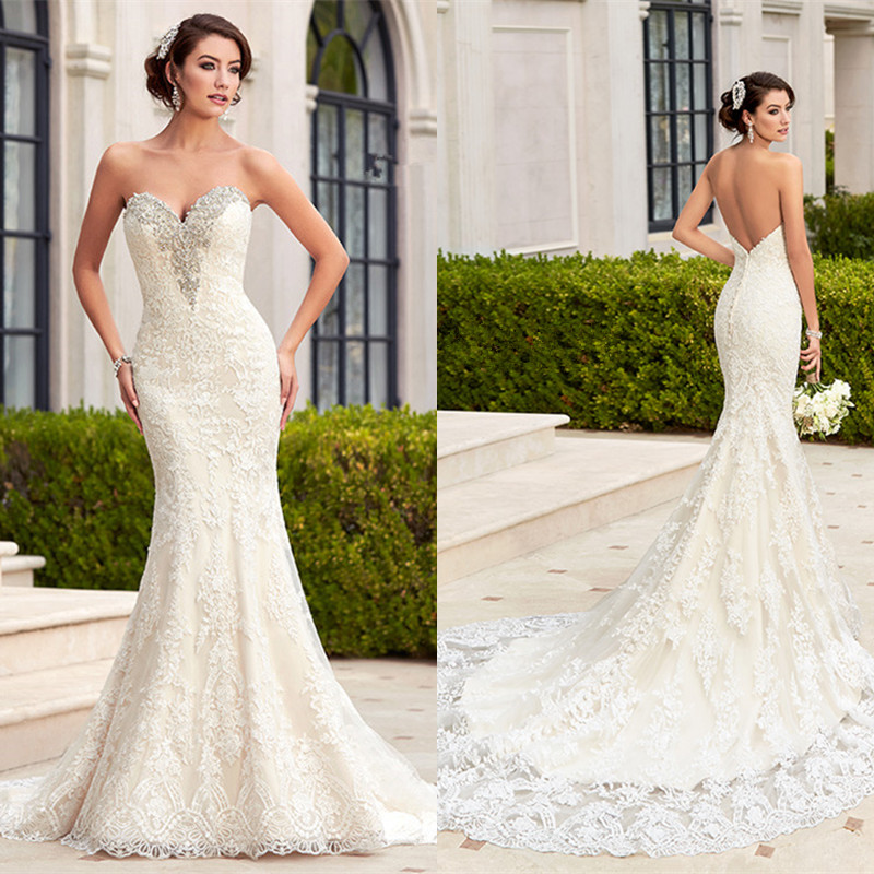 Backless Wedding Gowns For Sale: Hot Sale Sexy Mermaid Wedding Dress 2016 White Lace