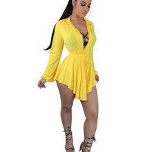 7765fcbbb477a ANJAMANOR Chiffon Dress Women Sexy Clubwear 2019 Spring Summer Deep V Neck  Long Sleeve Mini Dresses. 5 Colors Available