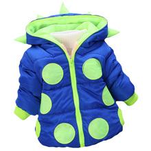 European and American fashion horn children winter Hooded Jacket wave cotton jacket zipper children babies warm