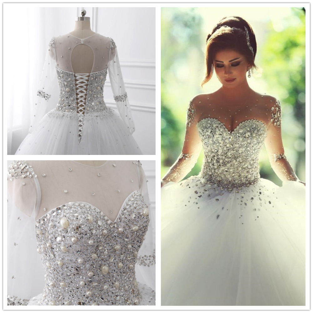 Wedding Ball Gowns With Straps: Long Sleeve Wedding Dresses 2017 Bridal Gowns With Lace Up