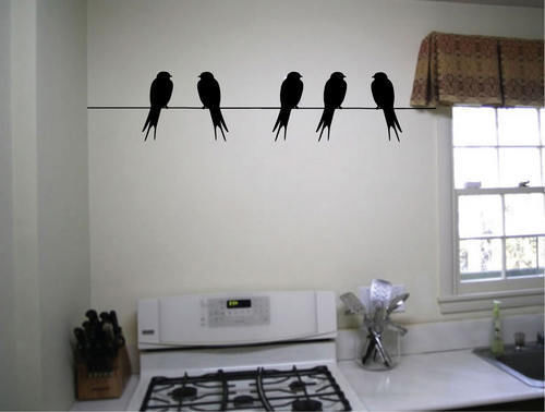 Birds On A Wire Cool wall art decals home decoration living room wall pictures bedroom wallpaper stickers