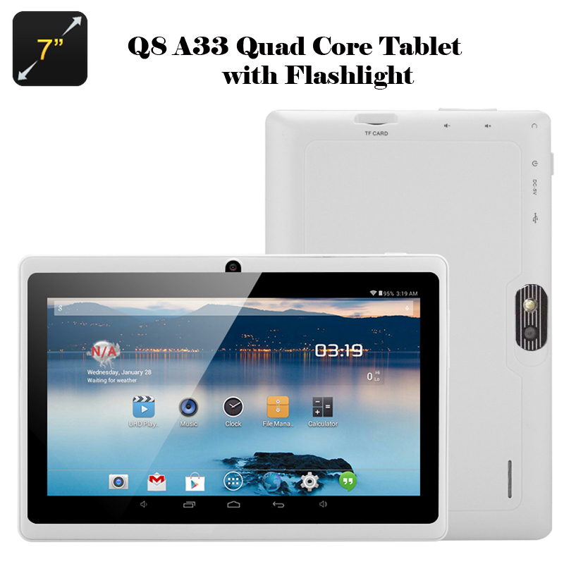 7 inch Q88 astar A33 Quad Core 512MB/4GB(or 8GB) Tablet Android 4 4 2 Kids  Tablet PC Dual camera WIFI Flashlight mode