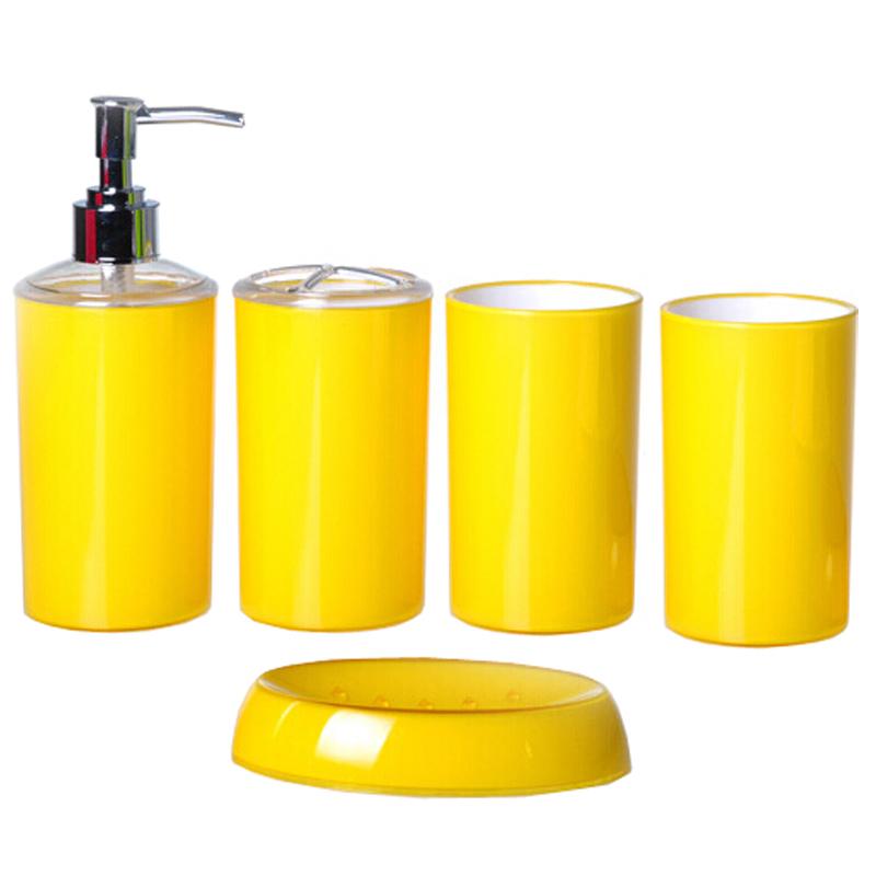 fashion candy color simple style bath accessories yellow 5pcs set bathroom set purple liquid. Black Bedroom Furniture Sets. Home Design Ideas