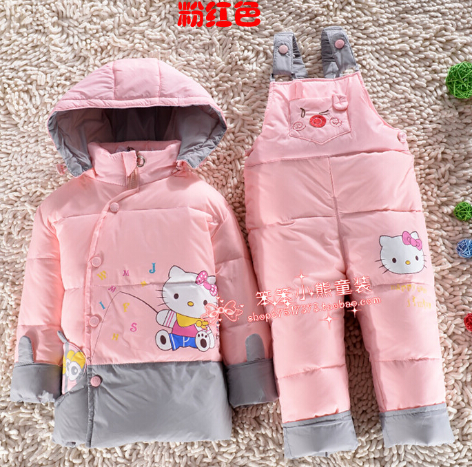 Младенцы вниз куртка костюм комплект малыша вниз пальто + брюки комплект мальчики девочки дети зима одежда для детей