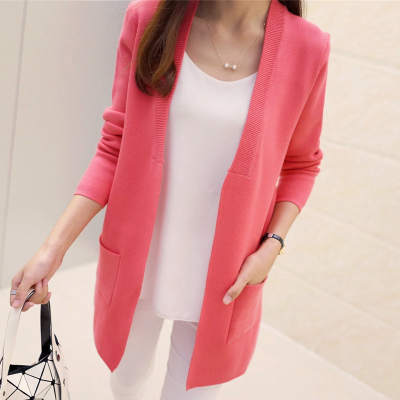 Autumn Female Sweater Coat Han Edition Long Round Collar Loose Pocket Knit Cardigan Women Sweater Free