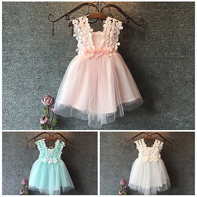 Baby Girl Princess Lace Tulle Flower font b Fancy b font Backless Gown Formal Party font