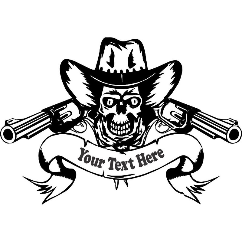 2016 Cute Cowboy Skull Rodeo Guns Customized Wall Stickers Creative DIY Skull Pattern Home Decor Western Rodeo Vinilos Paredes
