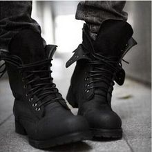 Hot Retro Combat boots Winter England-style fashionable Men's short Black shoes military boots–Free shipping