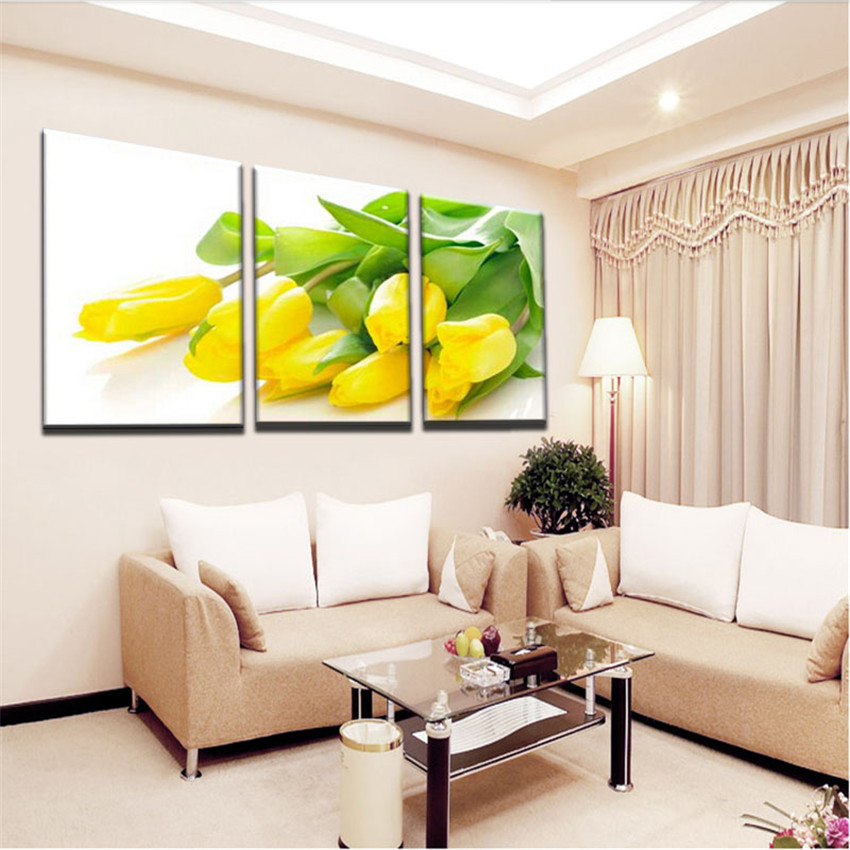 3 Panel Large Yellow Tulip Flowers Picture Painting cuadros decoracion Modern Home Decoration Printed Oil Painting Bedroom Decor