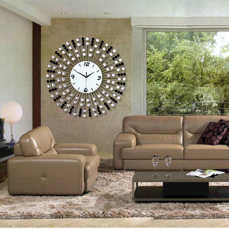 24 inches modern luxury iron wall clock diamond creative mute european classic living room. Black Bedroom Furniture Sets. Home Design Ideas
