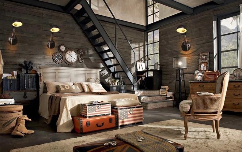 chambre style loft industriel finest deco style industriel loft d co loft recup with chambre. Black Bedroom Furniture Sets. Home Design Ideas