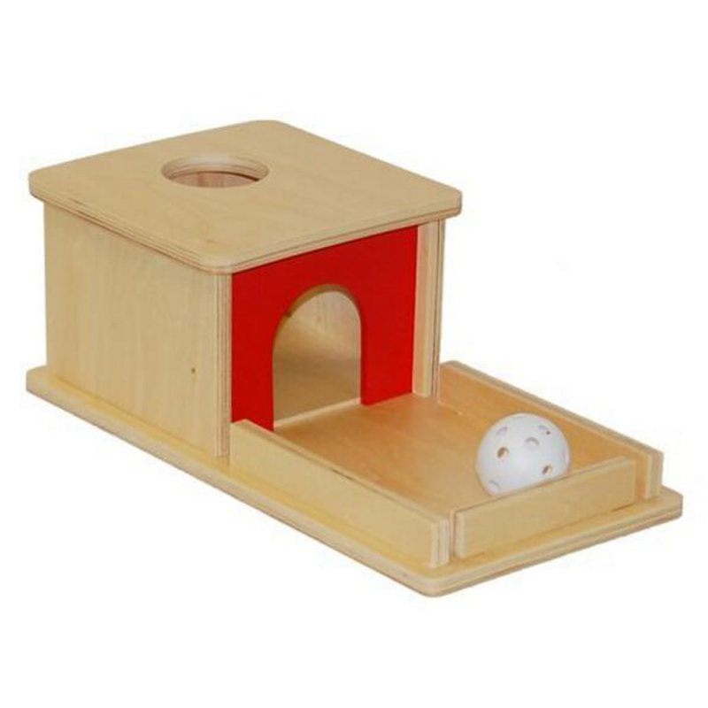 Montessori Material Object Permanence Box With Tray And Ball Kids