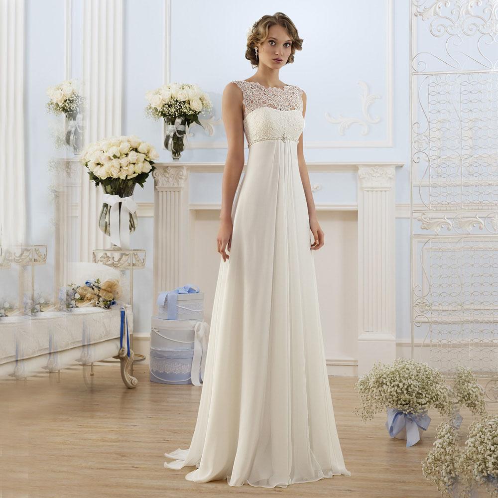 Simple Wedding Dresses: 2016 Country Style Elegant Ivory Lace Illusion Beaded