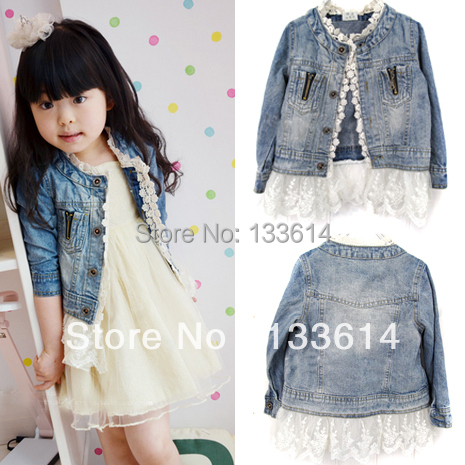 Girls Kids Lace Cowboy Jacket Denim Top Button Costume Outfits Jeans Coat 2 7T XL129 Free