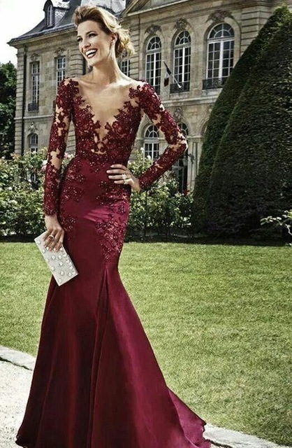 2016 New Design Vestidos Dark Red Evening Dresses Burgundy ...
