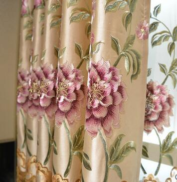 Modern high-end embroidered curtains pastoral study bedroom curtains cozy living room curtain fabric Verna