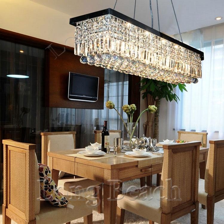 Dining Room Chandelier Size: Modern Large Rectangular Led Crystal Chandelier Light