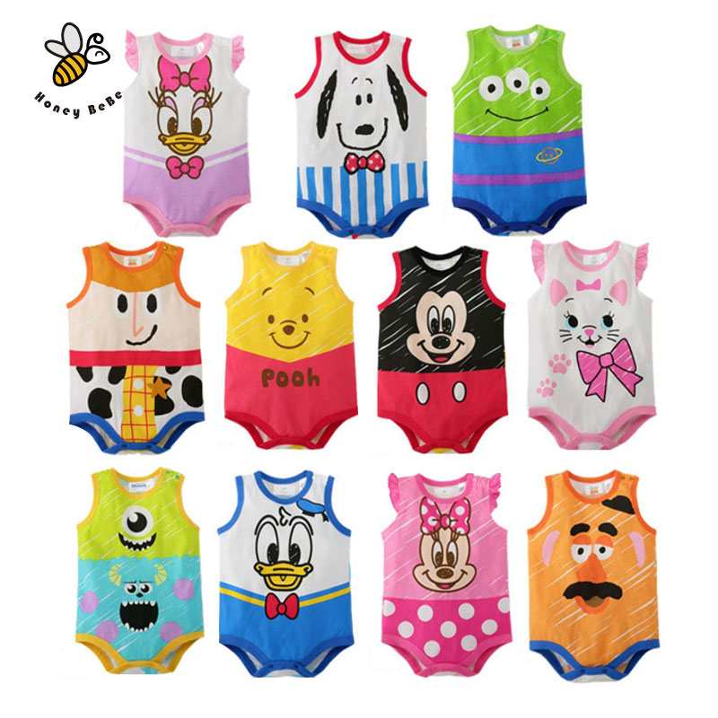 Sleeveless Cartoon Print Baby Rompers Newborn Baby Boy Clothes Jumpsuits Infant Baby Costume Summer Baby Clothing