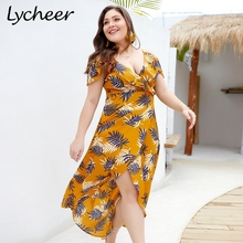 759e721418aec Miessial Lycheer Plus Size Boho Leaf Print Women Long Maxi Short Sleeve  Dresses. US  16.99   piece Free Shipping