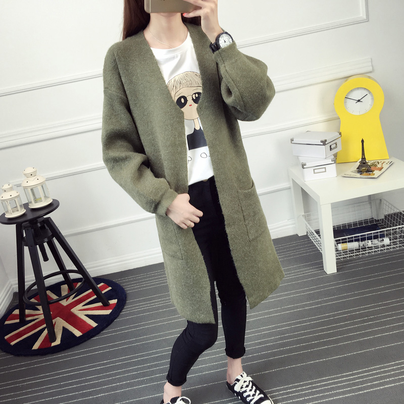 Autumn and font b winter b font female medium long sweater outerwear cardigan thick loose lantern