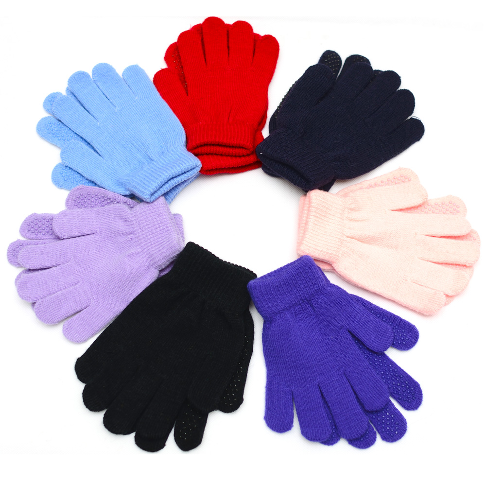 Winter Warm Fitness Latex Children Gloves Solid Knitted ...
