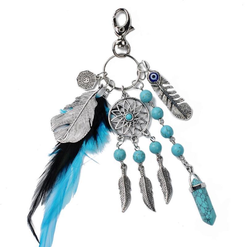 Bohemian Fashion Turquoise Dreamcatcher Feather Tassel Pendant Handbag Charm Key Chain Keyring Home Decor Accessories
