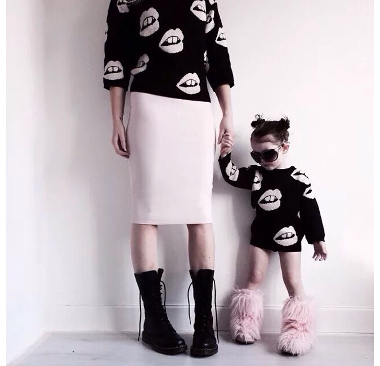 2016 Spring Autumn Family Matching Outfits Sweaters Long Sleeve Sweaters for Mom and Daughter Mother Fashion