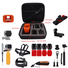 Chest Head Strap Bag Case Monopod Mount Lens Cap Floaty Cover Floating Wrist Strap Curved Flat For GoPro Hero 4 Session Camera