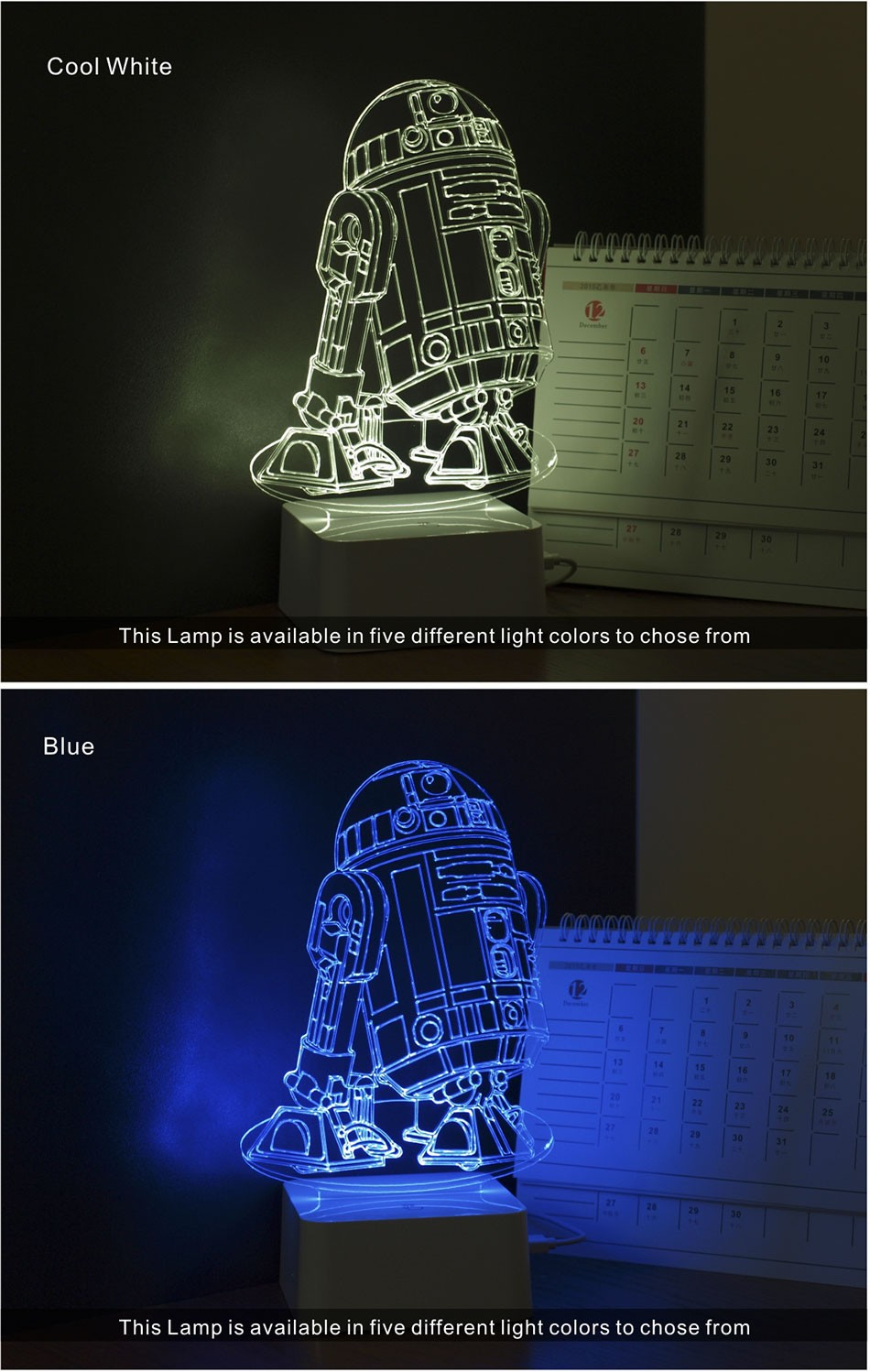 CNHIDEE 3D Visual Led Night Lights for Kids Robort R2 Touch Table Lampara as Besides Lampe for Star war Fans (3)