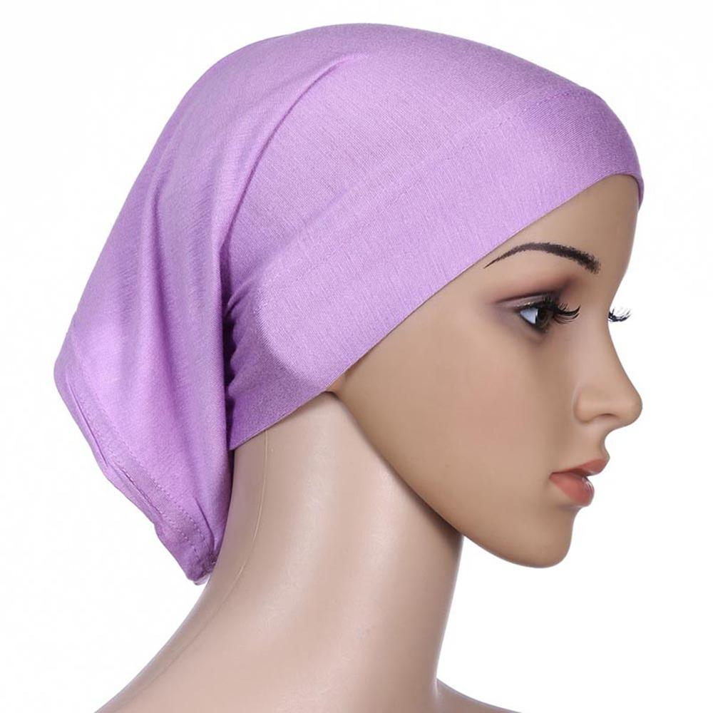 Hot Colorful Women Under Scarf Tube Bonnet Cap Bone Islamic Head ... 7b2db0c8af7