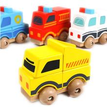 Baby Toys Vehicle Blocks Wooden Toy Ambulance Fire Engine Car Building Blocks Children Toy Educational Birthday