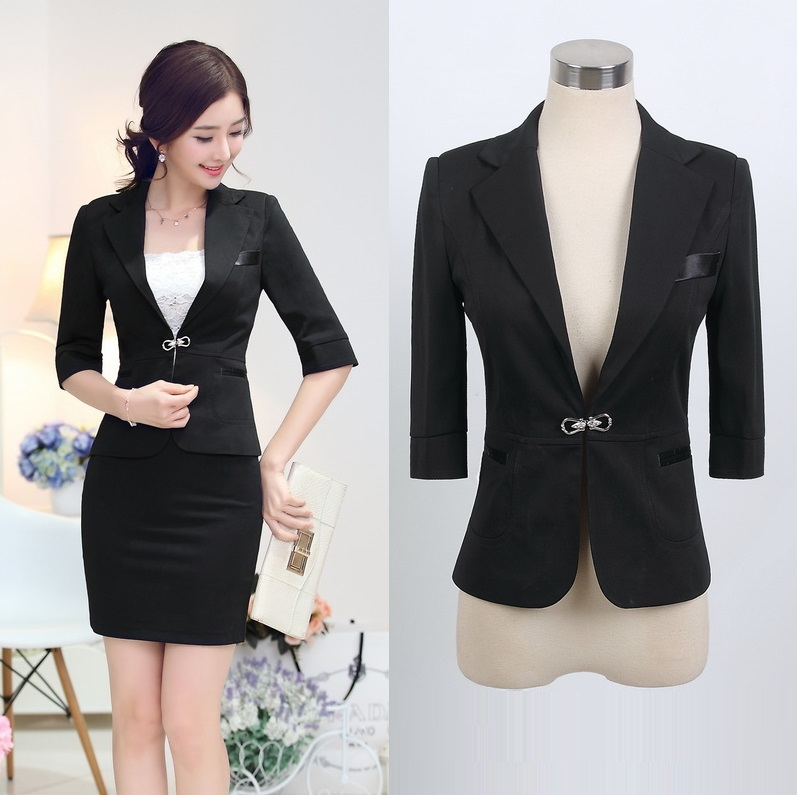 3550ba74909b New 2015 Spring Formal Ladies Black Blazer Women Jackets Outerwear Slim  Blaser Feminino Fashion .