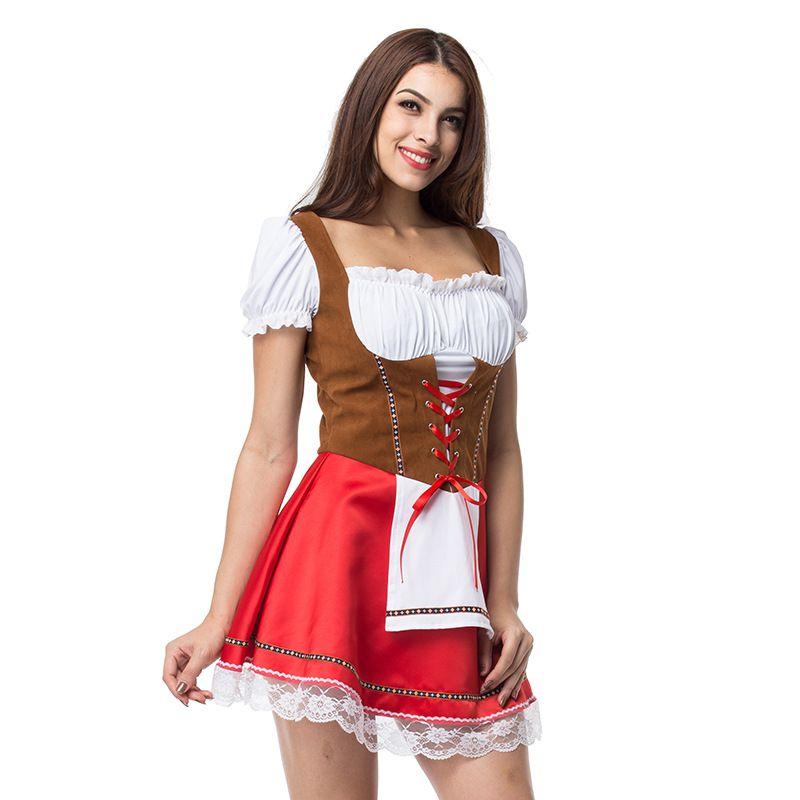 94c592a54e0 2019 Plus Size Maid Dress German Women Dirndl Dress Cosplay ...