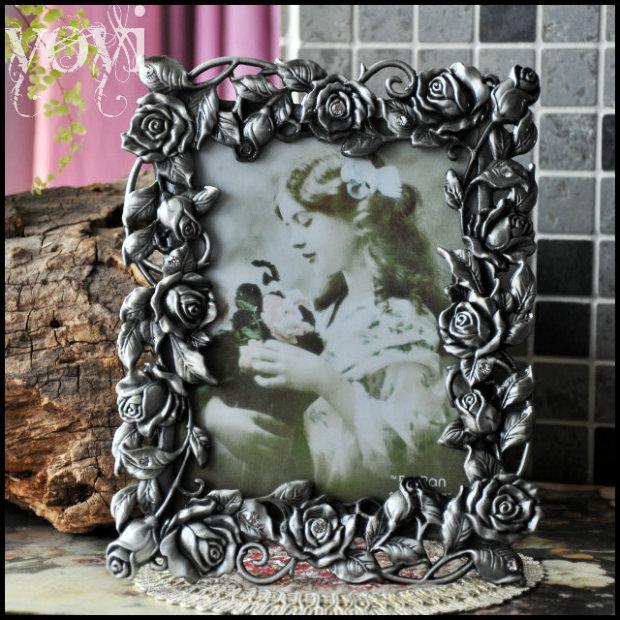 7'' Wedding Photo Table Vintage Frame Dark Rose Flower