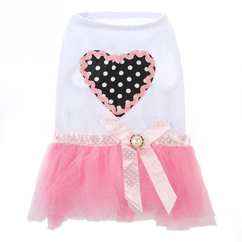 Сердце Одежда Для Собак Платье Принцессы Пачки Ламинированные Романтический Марли Юбки Милый Щенок-PF