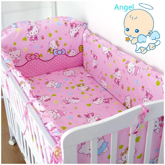 6 шт. привет котенок детская кроватка бампер детская кроватка комплект постельных принадлежностей бампер для кроватки ( бампер + лист + наволочка )