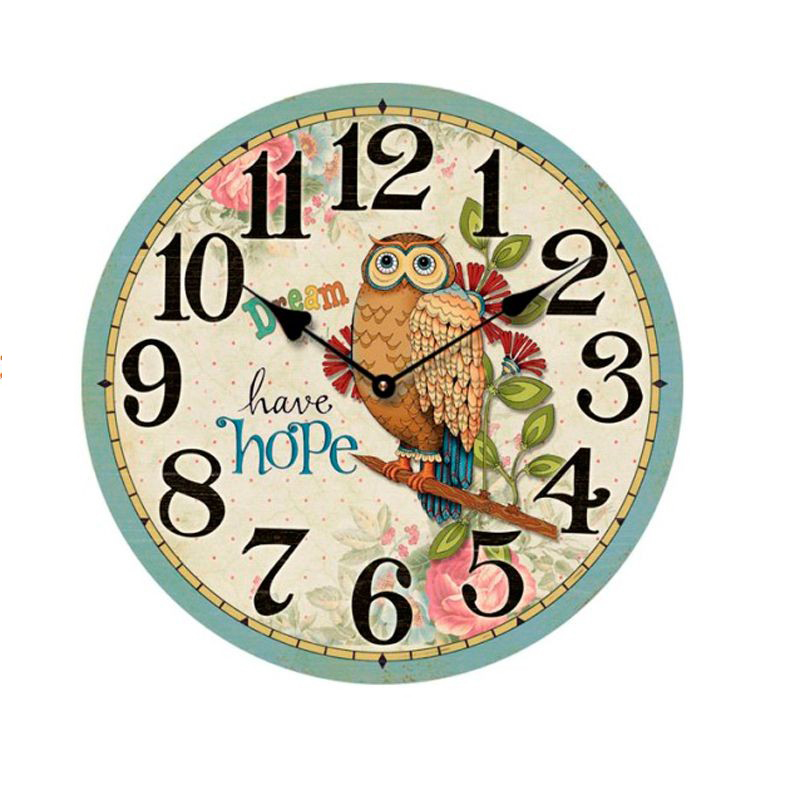 Hot  European Wall Clock Large Wall Clock Modern Design Owl Vintage Rustic Wall Clock Home Decoration Art Wood Wall Clock 30cm