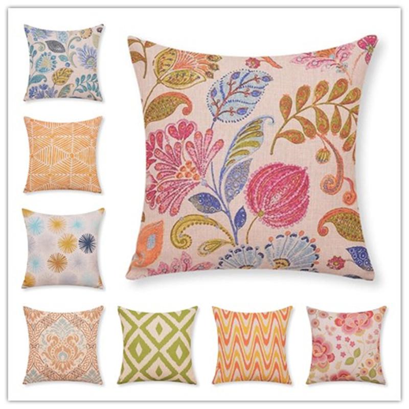 Hand-Printed Houseware <font><b>Bohemian</b></font> Style <font><b>Home</b></font> <font><b>Decor</b></font> Cushion Pillows Fundas Decorative Throw Pillows Almofadas Cojines